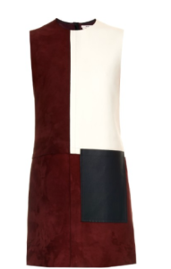 On the AW15 runway, Edun's modish spirit shone through in its leather colour-blocked shift dresses. This burgundy suede version is spliced with a white leather side panel and blue leather patch-pocket. Team it with this season's thigh-high boots for a lean 1960s silhouette. Shown here with Balenciaga Giant 12 leather envelope clutch, Edun Over-the-knee lacquered-leather boots and Diane Von Furstenberg Set of four gold-plated rings.